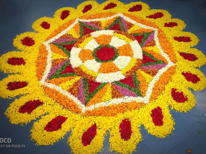 Flower Rangoli for Dassehra Flower Rangoli Dassehra Diwali Indian Culture  Multi Colored Yellow A New Beginning