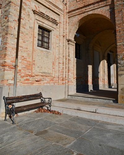 Brick Wall Langhe Sunny Autumn Church Exterior Bench Architecture Built Structure Tourism History Travel Destinations Day No People Outdoors