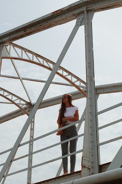 Arhitecture Photography Minimalism Structures Girl Colorful Croatia Shooting Model Bridge - Man Made Structure Bridge One Person Real People Lifestyles Young Women Standing Casual Clothing Leisure Activity Built Structure Women Architecture Connection Nature Day Young Adult Full Length Adult Metal Sky Front View Bridge - Man Made Structure