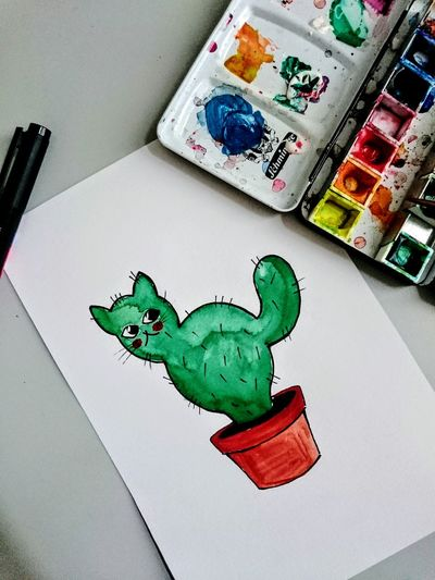 Meow. Cactus Watercolor Painting Cactus Collection Illustration Catlovers Meow