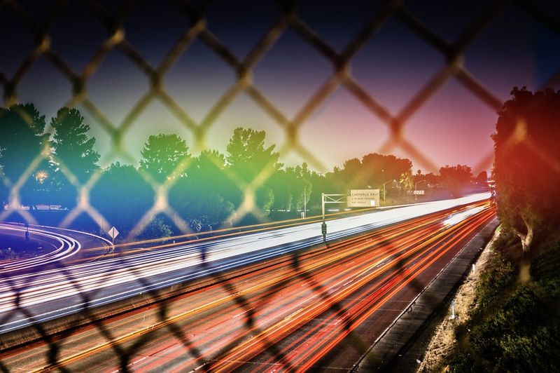 Long exposure of 210 freeway with colorful prism light flare. rainbow effects