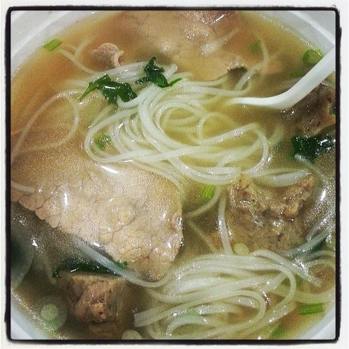 Pho for lunch at Tommys burger grill restaurant. Enough for 2-3 people. I couldn't eat it all. It was good.