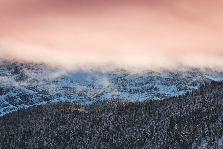 Nature Winter Mountain Snow Outdoors Sky Landscape Wood Sunset Clouds Dramatic Sky