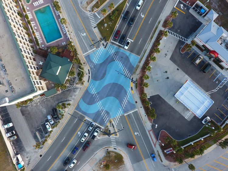 Aerial View Aerial Photograph Drone  Drone Photograph Bird's Eye View Road Copy Blue Wave Highway Copy Space Daytona Florida