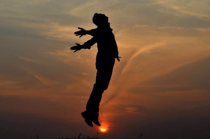 Jump Of Winning Hearts_Journey of Happiness Silhouette Sunset One Person Full Length Adult Sky EyeEmNewHere Low Angle View Energetic Jumping Lifestyles Cloud - Sky