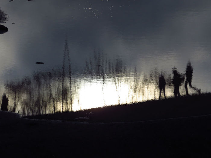 Water Silhouette Lake Tranquil Scene Reflection Real People Group Of People Unrecognizable Person Surrealism Surreal Family Family Time Family With One Child Family Matters Reflection Blurred Blurred Reflection Blurry Like A Painting Reflections In The Water Puddle Puddle Reflections Dissolving Hike Tree