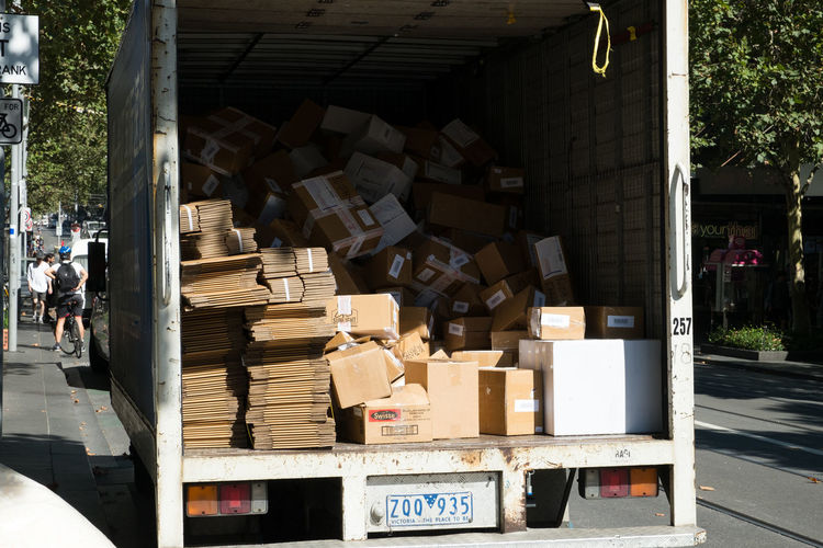 Abundance Australia Boxes Cardboard Box Large Group Of Objects Load Melbourne Melbourne City Paperboxes Stack Truck Trunk