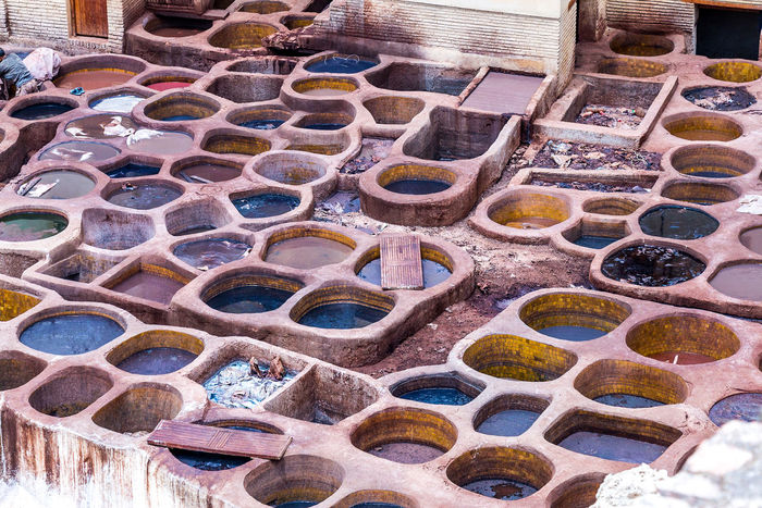 Buckets Colors Medina Fez Medina De Fez Outdoors Pattern Tannery