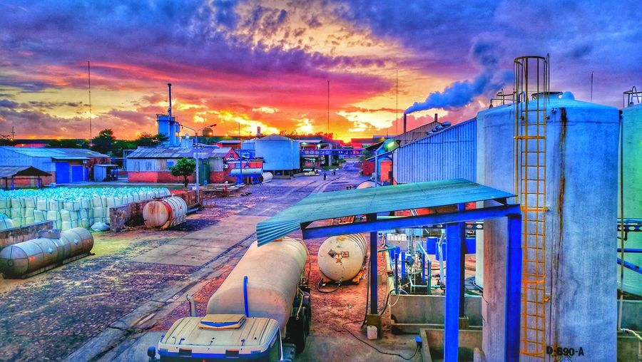factory morning Cloud - Sky Sky Sunset Water Outdoors Built Structure Multi Colored Day City First Eyeem Photo