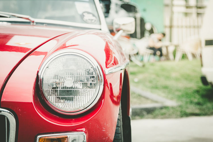 Headlight lamp red vintage classic car,color filter Classic Car Headlamp Red Retro Car Close-up Day Focus On Foreground Headlight Land Vehicle Mode Of Transport No People Outdoors Red Transportation Vintage