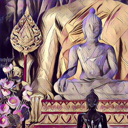 Tree buddhas meditation - Tranquility Serenity - PURPLE - group buddhas picture in 4x4Format Buddha Illustration Buddha Purple Buddhas Effects & Filters EyeEm Best Edits Golden Metal Buddha Black Buddhas, Buddha Choice Close-up Design Flowers Human Representations Idols Multi Colored Religion Representation Serenity Spirituality Idols Statues Variation Colored Thailand