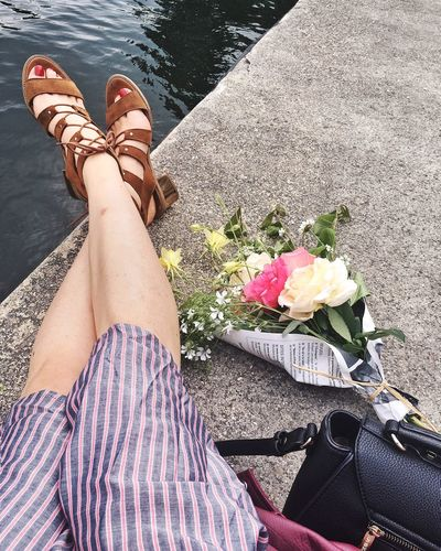 Low Section Human Leg Real People Flower Flowering Plant One Person Body Part Nature Lifestyles Women Plant Outdoors Water