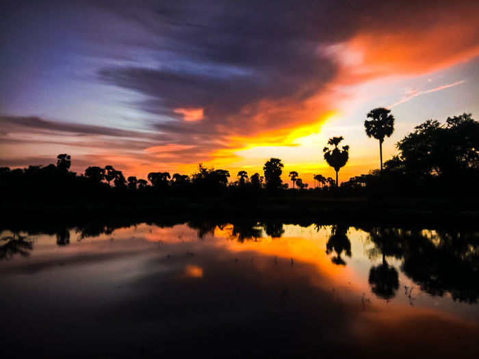 Reflection Sunset Tree Silhouette Multi Colored Cloud - Sky Landscape Morning Dawn Tropical Climate Outdoors Water No People Beauty Scenics Sky Lake Nature Beauty In Nature Day