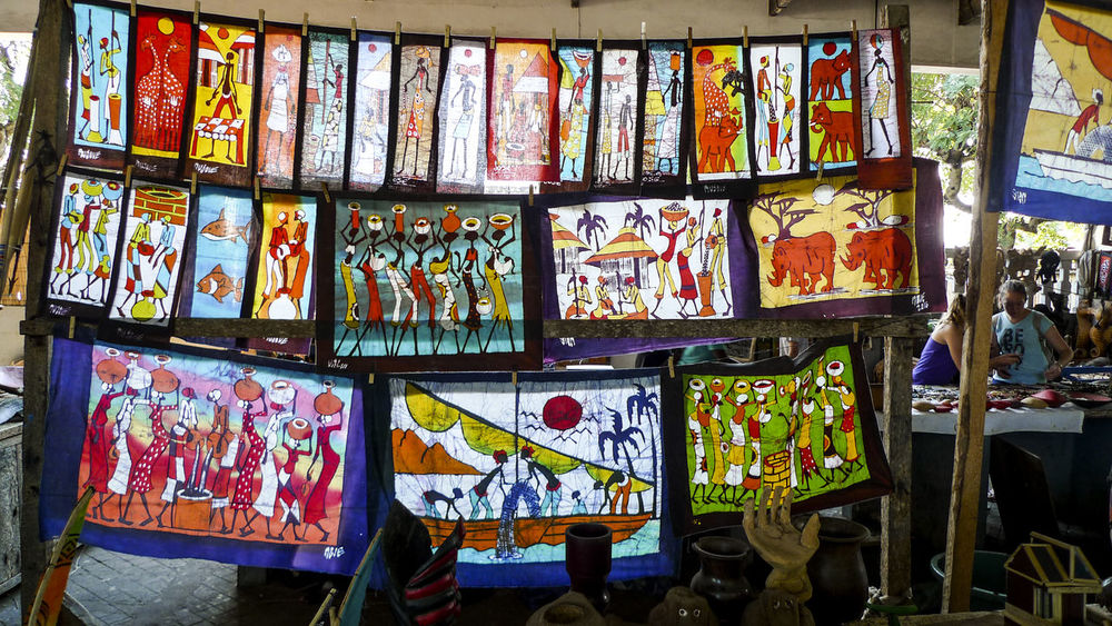 Batik Mozambique. Choice Colourfull For Sale Inhambane Large Group Of Objects Market Mercado Central Multi Colored No People Variation