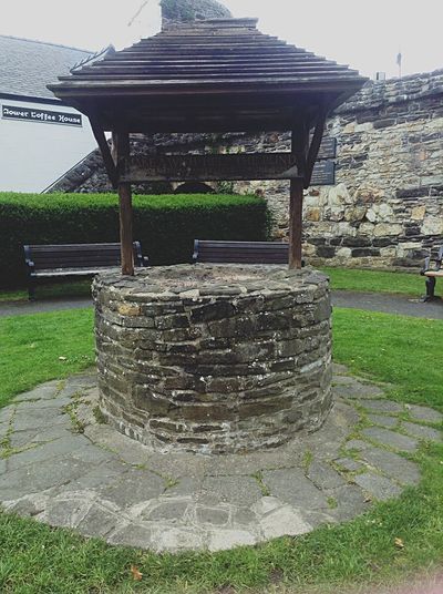 Outdoors Wishing Well Helping The Blind Conwy, Village In North Wales No People Grass Stone