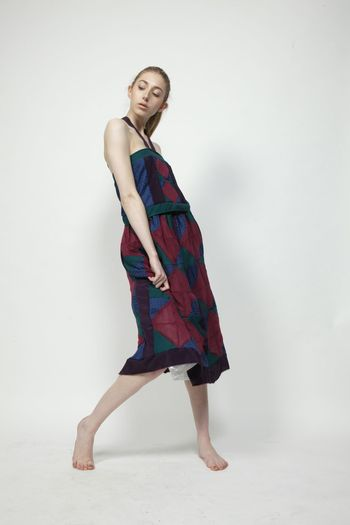 Upcycled four pieces of secondhand clothing into one Patchwork Outfit Girl Model Textiles Sewing Design