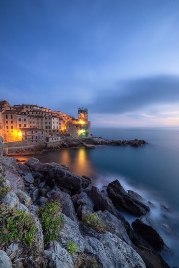 Tellaro, Golfo dei Poeti, La Spezia Building Exterior Architecture Built Structure Water Sky Sea Illuminated Building Rock - Object Cloud - Sky No People Rock Nature Dusk Solid Night Travel Destinations Outdoors EyeEm Best Shots EyeEm Nature Lover EyeEm Selects Tellaro Lerici Liguria Italy