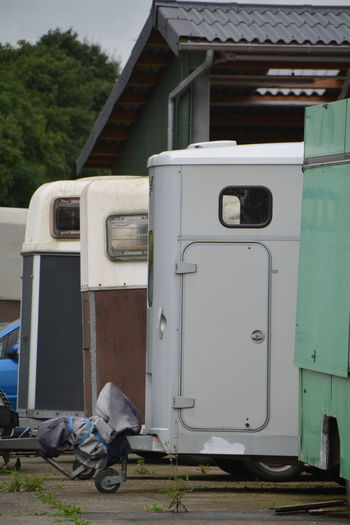 Vehicle Trailers Parked In Garage