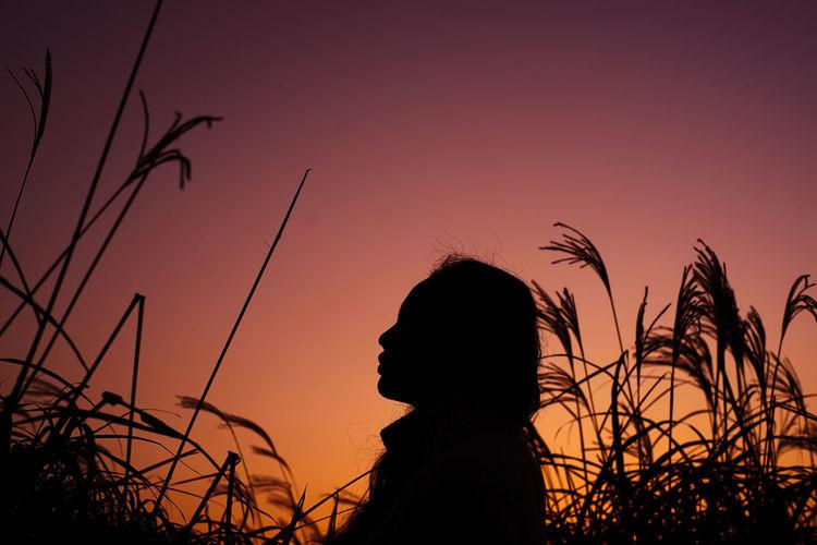 Side view of silhouette man against orange sky