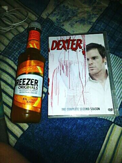 What i did last night Booze And Dexter Chillin' With A Bottle Of Bacardi Breezer