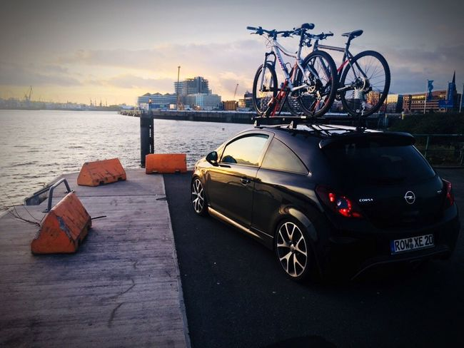Transportation Mode Of Transport Land Vehicle Car Sky Built Structure Building Exterior Architecture Stationary Cloud - Sky Outdoors City No People Water Day Sunset Hamburg Opel Corsa D OPC