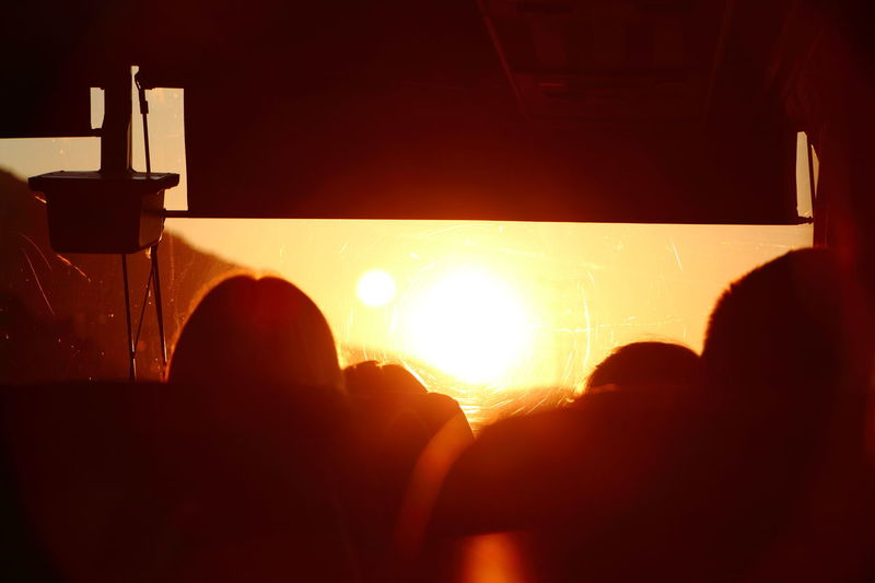 Connected By Travel Sunrise Sunlight Gold Colored Early Morning Orange Color Sun Morning View Beauty Nature Beauty In Nature Silhouette People Transportation Travel Travel Destinations Bus Bus View Silhouette