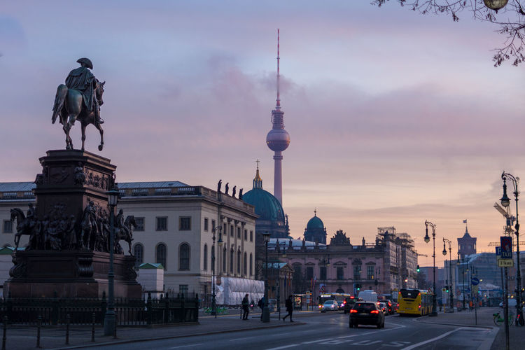 Architecture Building Exterior City Sky Built Structure Travel Destinations Travel Tourism Tower Cloud - Sky Building Nature Transportation Tall - High Spire  Sphere TV Tower Horse Statue Town Hall Sunrise Colorful Colorful Sky Berlin Dome
