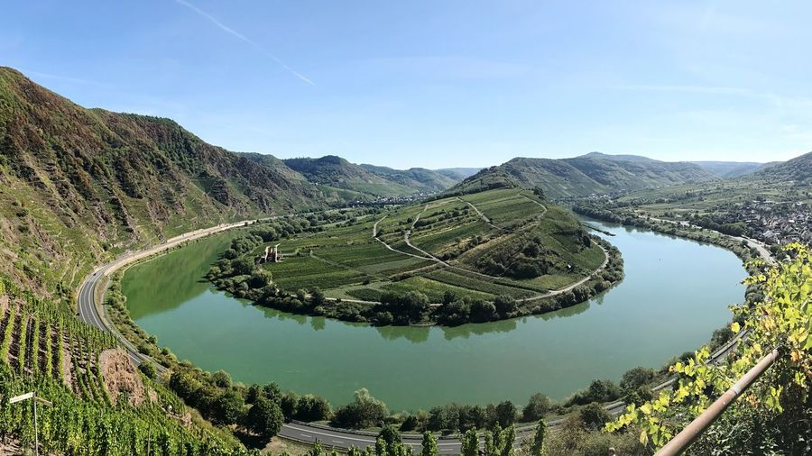 Moselschleifen Panorama Green Moselschleife Germany Eifel Mosel Sky Scenics - Nature Beauty In Nature Water Tranquility Tranquil Scene Plant Nature Day No People Green Color Idyllic Outdoors