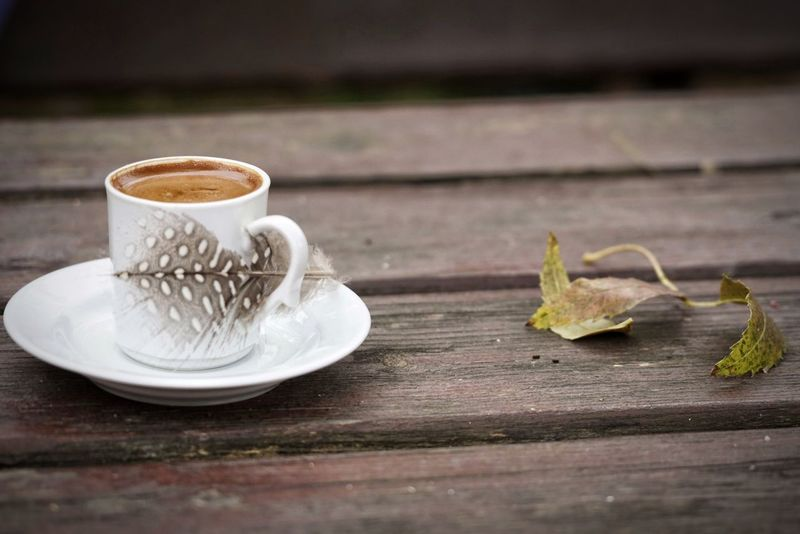 Cafe Coffee Coffee Time Coffee Break Table Wood Wooden Nobody Drink Turkish Coffee Turkish Beverage Cup Esspresso Autumn Leaf Leaves Greek Coffee