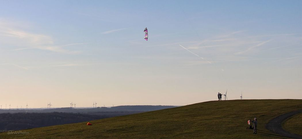 Landscape Sky Flying Outdoors Flying A Kite Kite - Toy Day Grass Spring2017 Wind Turbines