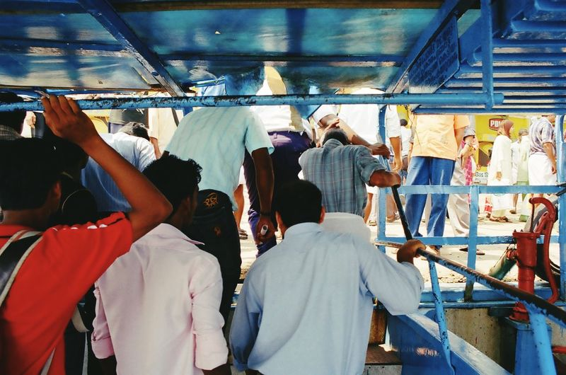 People moving out from ferry boat