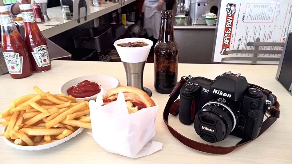 """Cheese Burger, fries and Nikon F100"" Nikon NIKON F100 Foodporn Food Porn Food And Drink Hamburger Fastfood French Fries Burgers Photooftheday Lunch Los Angeles, California Foodphotography Camera"