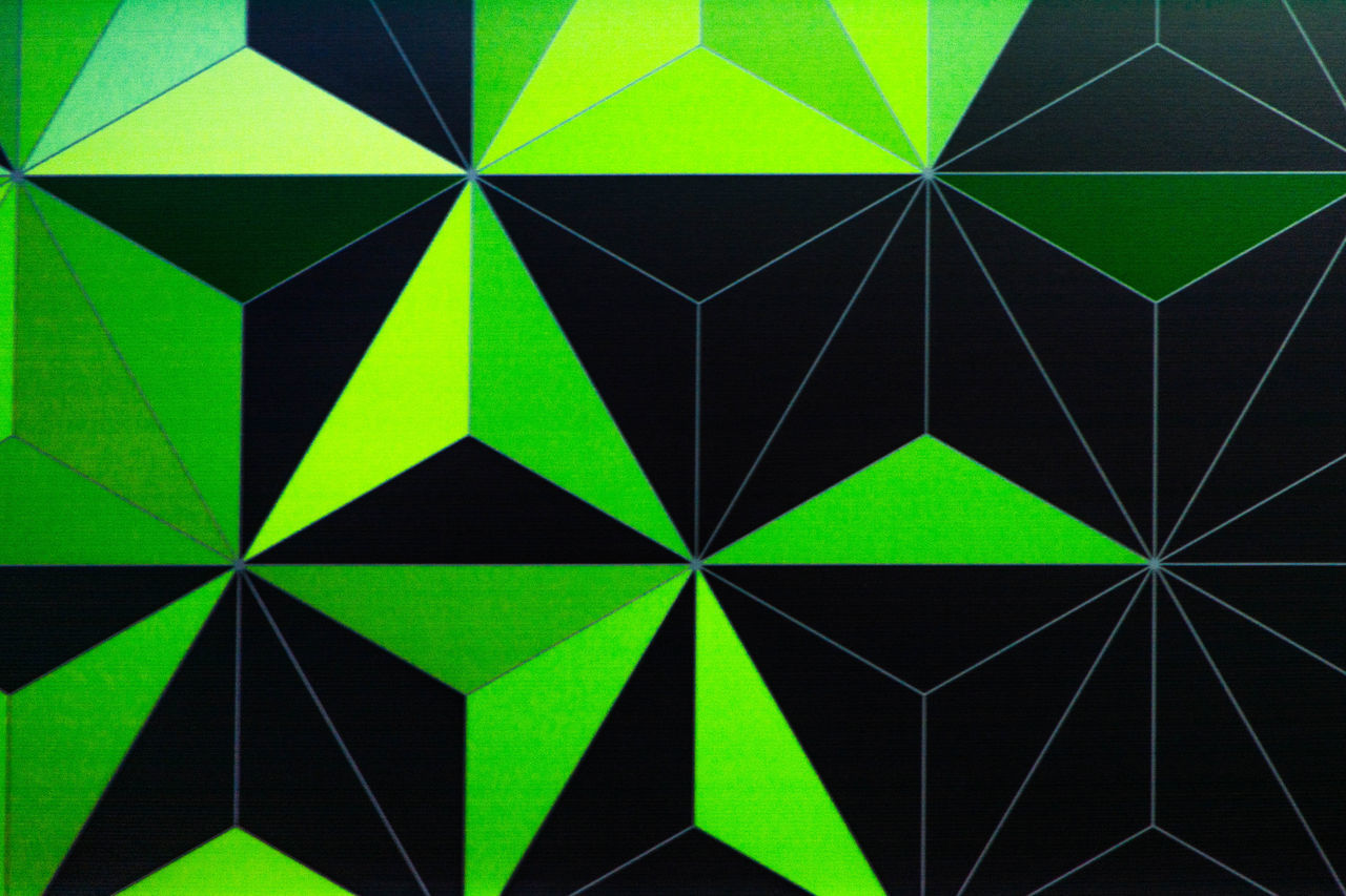 geometric shape, triangle shape, full frame, pattern, backgrounds, abstract, no people, textured, green color, close-up, indoors, day