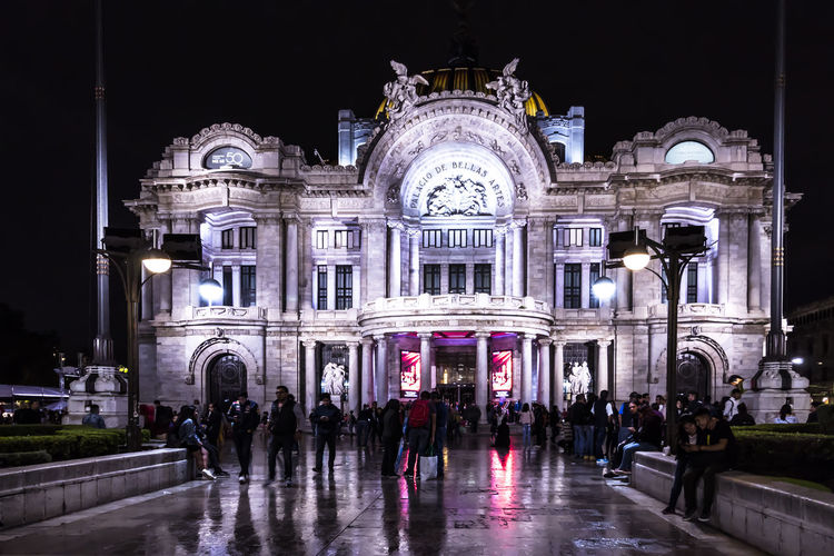 Architecture Illuminated Night Building Exterior Built Structure Travel Destinations Tourism Real People Outdoors Architectural Column Bellas Artes Bellas Artes,México City Bellas Artes, México D.F. Architecture Ciudad De México Cdmx CDMX. Palacio De Bellas Artes  Mexico City Mexico EyeEmNewHere