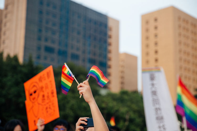Taipei, Taiwan - Oct 28, 2017: Hundreds of thousands came out on streets of Taipei for the 15th Taiwan Pride Parade. The parade started marching from Ketagalan Boulevard to three different avenues and made Taipei even more colorful with all shades of rainbow. This year's goal is to promote inclusive education as it would lead to better acceptance. Taiwan is about to be the first in Asia to officially legalize 'equal marriage'. LGBT Rainbows LGBT Parade Taipei Pride Taiwanese Gay Parade   Gay Pride Parade Gaypride Lgbt Lgbt Flag Lgbt Pride Lovewins Pride2017 Prideparade Rainbow Flag Taiwan Pride Taiwanpride Taiwanpride2017 This Is Queer Love Is Love