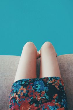 She comes in colors Human Body Part One Person Body Part Human Leg Women Blue Lifestyles Low Section Indoors  Sitting Relaxation Floral Pattern Furniture