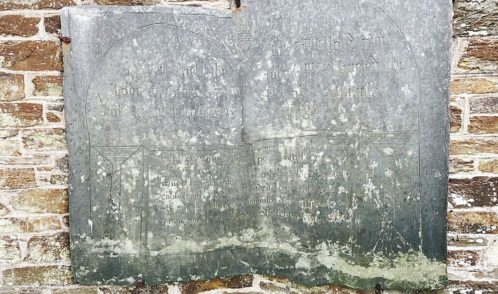 1632 Memorial Slate Church Old History Mevagissey Cornwall see if you can read the inscription!