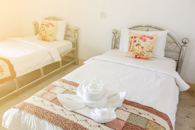 Absence Bed Bedroom Breakfast Comfortable Cozy Cup Domestic Room Drink Floral Pattern Flower Flowering Plant Food And Drink Furniture Home Interior Home Showcase Interior Indoors  Luxury Mug No People Pillow Refreshment Table Tray White Color