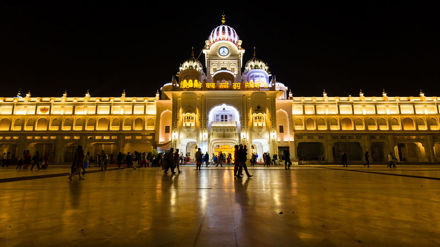 Facade of historical building at night