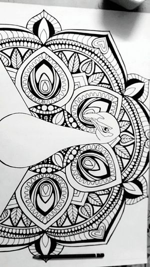Design Pattern Creativity Drawing Sketch Peacock Mandala Art Design Pattern Floral Pattern Indoors  Architecture Decoration Repetition Creativity Patterned Curve Architectural Feature Architectural Design Coil High Section First Eyeem Photo
