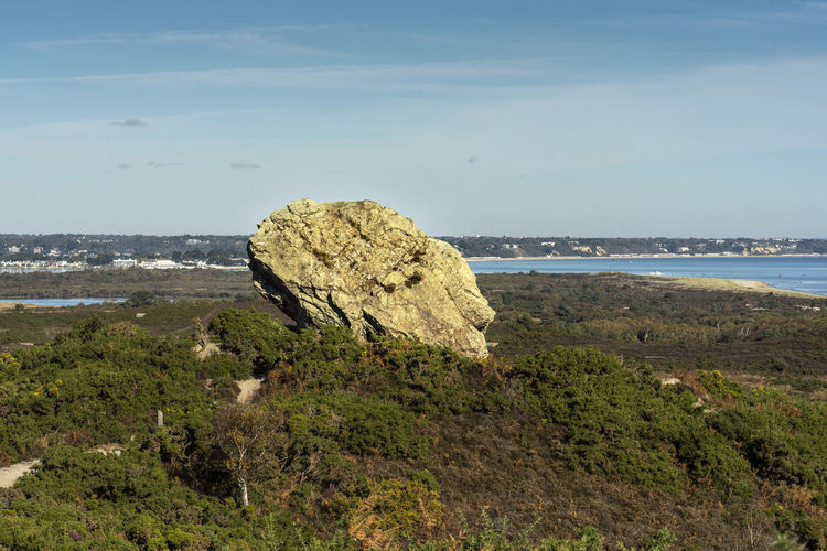 Agglestone Rock, Poole harbour in the background, Dorset, UK Agglestone Rock, Dorset Agglestone Rock Rock Beauty In Nature Scenics - Nature Rock - Object No People Rock Formation Non-urban Scene Day Sea Water Sky Nature