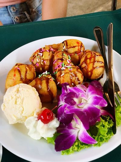 Dessert in Phuket Ice Cream Thailand Flower Phuket,Thailand Phuket Desserts Dessert Fried Banana Indoors  Healthy Eating Serving Size No People Close-up Wellbeing Temptation Sweet Sweet Food High Angle View