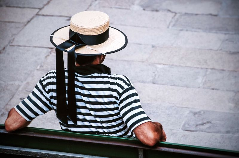 Hat One Person Rear View Men Gondolier Day Only Men Adult Outdoors Real People Colors Contrasts Chilling Venice, Italy Tourism Travel Photography One Man Only Point Of View The Street Photographer The Street Photographer - 2017 EyeEm Awards Neighborhood Map