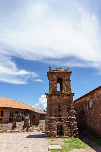 America Ancient Civilization Anden Cloud Cross Culture Historic History Island Lake Perspective Peru Place Of Worship Puno Ruined South Taquile Titicaca Tourist Travel