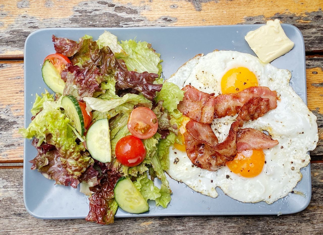 food and drink, food, healthy eating, ready-to-eat, freshness, vegetable, wellbeing, plate, meal, serving size, table, still life, meat, egg, directly above, indoors, high angle view, tomato, close-up, breakfast, no people, fried egg, tray
