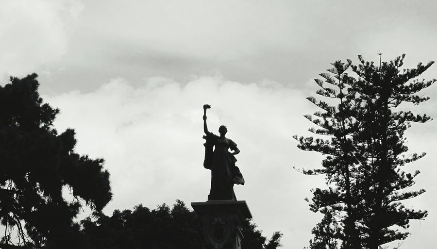 Woman Human Representation Statue Art And Craft Sculpture Art Tree Low Angle View Cloud - Sky Monument White And Black Power Sky Monochrome Photography