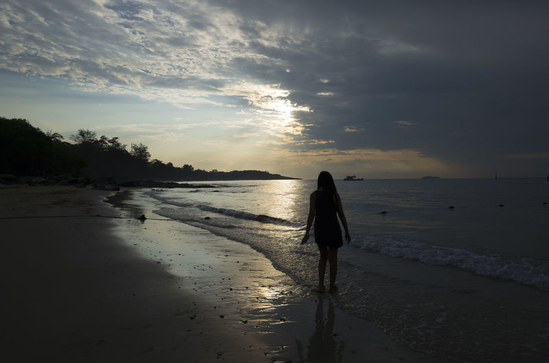 Water Beach Sky Land Real People One Person Sunset Sea Cloud - Sky Beauty In Nature Scenics - Nature Full Length Lifestyles Rear View Leisure Activity Women Nature Walking Standing Outdoors Horizon Over Water