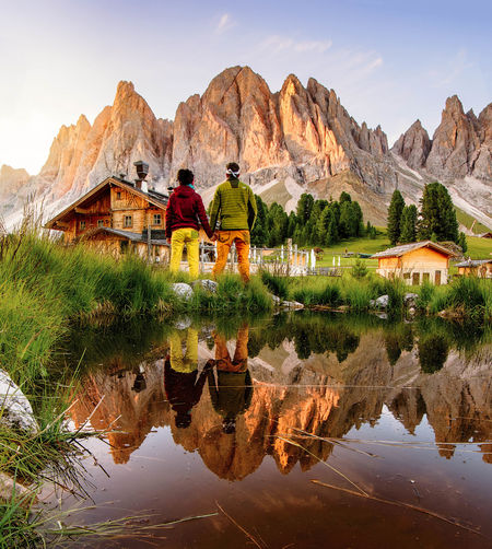 || Wild awakening || Mountain Reflection Mountain Range Scenics Beauty In Nature Nature Outdoors Landscape Mountain Peak Water Travel Destinations Day Couple Love Light Sunrise Dawn Dolomites, Italy Trentino Alto Adige Val Di Funes Rifugio Delle Odle Colors Morning Light