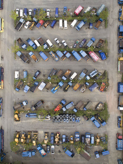 Aerial photo of a parking lot Large Group Of Objects Abundance Aerial View Outdoors No People Multi Colored Wonder Resting Day Wings city Garage Workshop Arranged Objects Backyard Drone  Droneshot Topdown Lorry Transportation Vehicle Blue Beauty In Nature Scenics Sitting Looking EyeEmNewHere