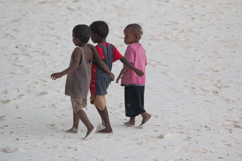 Africa Beach Beach Kids Bonding Boys Child Childhood Children Only Cold Temperature Day Friendship Full Length Happiness Indian Ocan Nature Outdoors People Sand Sunrise Swahili Coast Togetherness Walking Winter Zanzibar